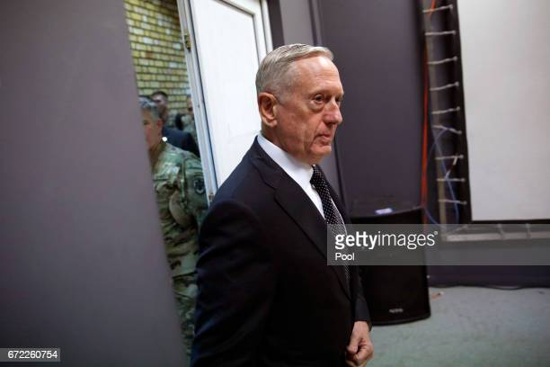 S Defense Secretary James Mattis arrives for a news conference at Resolute Support headquarters April 24 2017 in in Kabul Afghanistan Mattis is on a...