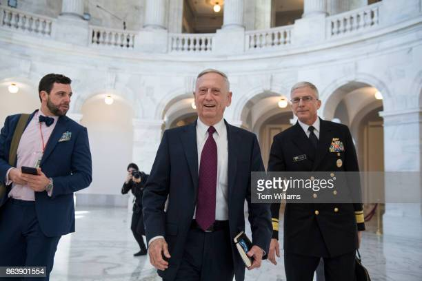 Defense Secretary James Mattis arrives in Russell Building before a meeting with Sen John MCain RAriz on October 20 about the deaths of four US...