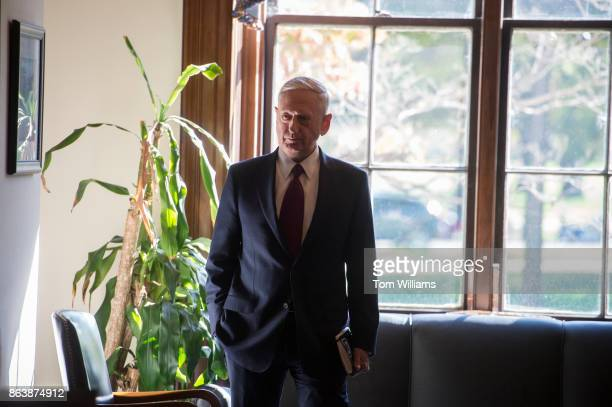 Defense Secretary James Mattis arrives in the Russell Building of Sen John MCain RAriz before a meeting with the Senator on October 20 2017 about the...