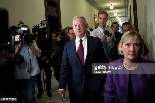 S Defense Secretary James Mattis arrives on Capitol Hill to meet with Senators John McCain and Lindsey Graham October 20 2017 in Washington DC...