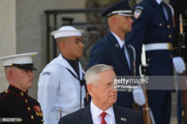 US Defense Secretary James Mattis awaits Australia's Defense Minister Marise Payne for meetings at the Pentagon in Washington DC on September 20 2017...