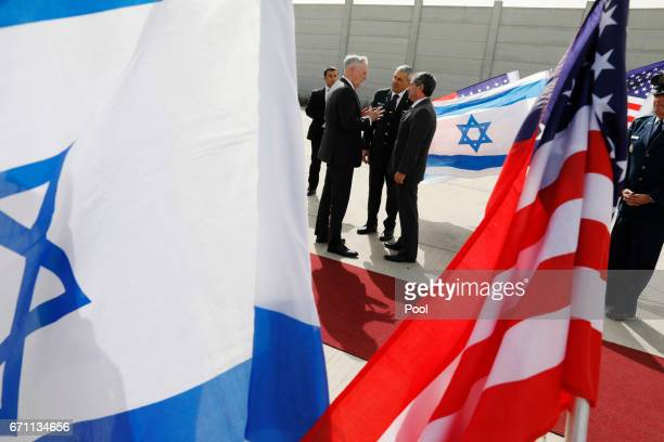 S Defense Secretary James Mattis bids farewell to Israeli military dignitaries as he departs from Ben Gurion International Airport on April 21 2017...