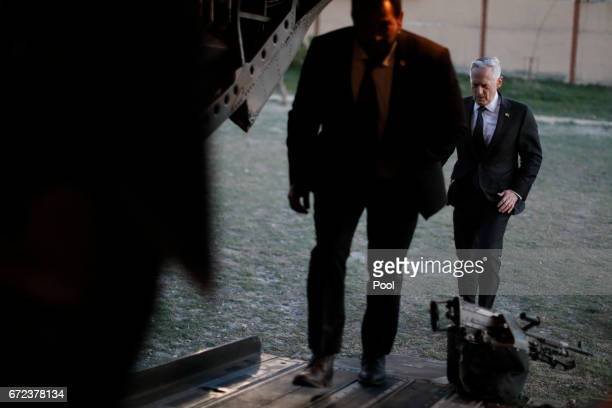 S Defense Secretary James Mattis boards a US Army helicopter to depart after a visit to Resolute Support headquarters April 24 2017 in in Kabul...