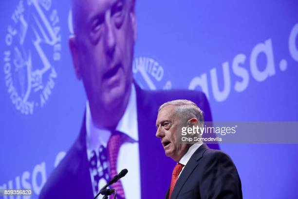 S Defense Secretary James Mattis delivers the keynote address during the Association of the United States Army's annual meeting and exposition at the...