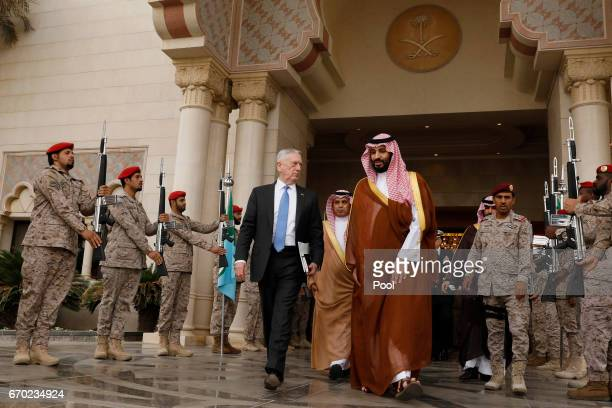 S Defense Secretary James Mattis departs after meeting with Saudi Arabia's Deputy Crown Prince and Defense Minister Mohammed bin Salman at the...