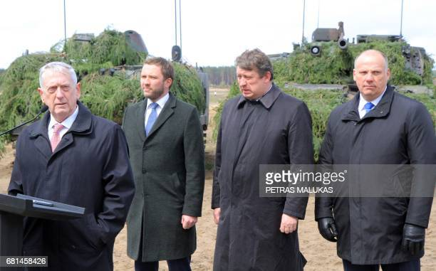 US Defense Secretary James Mattis Estonian Defense Minister Margus Tsahkna Lithuanian Defense Minister Raimundas Karoblis and Latvian Defense...