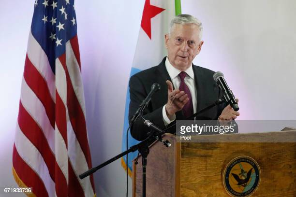 S Defense Secretary James Mattis holds a news conference at Camp Lemonnier on April 23 2017 in Ambouli Djibouti Mattis is on a regional tour of the...