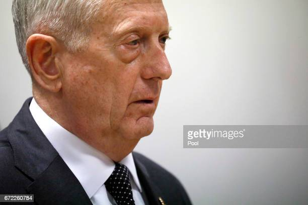 S Defense Secretary James Mattis holds a news conference at Resolute Support headquarters April 24 2017 in in Kabul Afghanistan Mattis is on a...