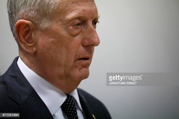 US Defense Secretary James Mattis holds a news conference at Resolute Support headquarters in Kabul on April 24 2017 US Defense Secretary Jim Mattis...