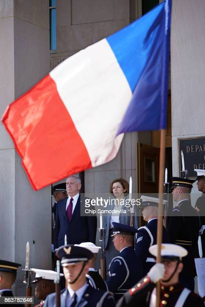 S Defense Secretary James Mattis hosts France's Minister of the Armed Forces Florence Parly for an enhanced honor cordon at the Pentaon October 20...
