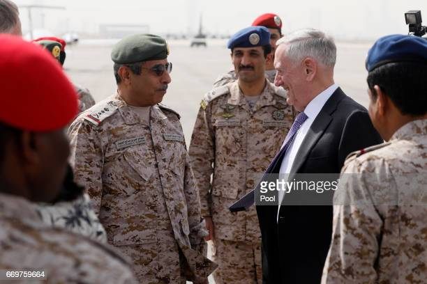 US Defense Secretary James Mattis is greeted by Saudi Armed Forces Chief of Joint Staff General Abdul Rahman Al Banyan upon his arrival at King...