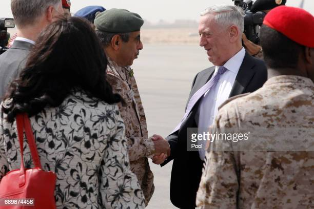 S Defense Secretary James Mattis is greeted by Saudi Armed Forces Chief of Joint Staff General Abdul Rahman Al Banyan upon his arrival at King Salman...