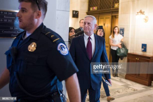 Defense Secretary James Mattis is seen in Russell Building before a meeting with Sen John MCain RAriz on October 20 about the deaths of four US...