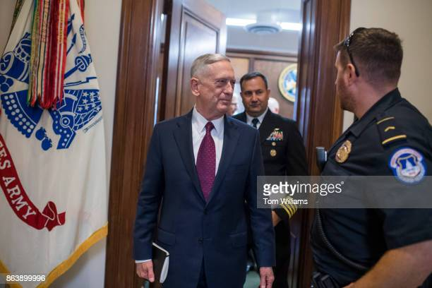 Defense Secretary James Mattis leaves military liaison offices in Russell Building before a meeting with Sen John MCain RAriz on October 20 about the...