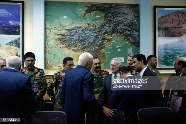 US Defense Secretary James Mattis meets with Afghanistan's Defense Minister Mohammad Masoom Stanekzai and other members of the Afghan delegation at...