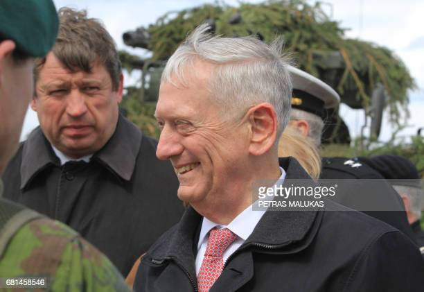 US Defense Secretary James Mattis meets with US troops deployed in Lithuania with representatives of the Lithuanian Armed Forces and with soldiers of...