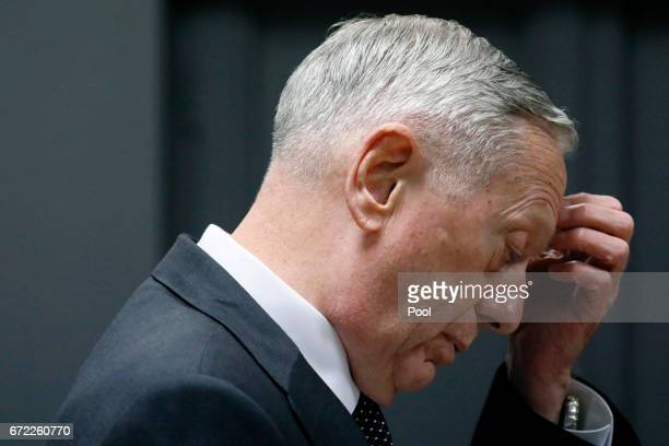 S Defense Secretary James Mattis pauses during his remarks during a news conference at Resolute Support headquarters April 24 2017 in in Kabul...