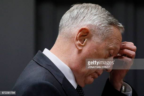 US Defense Secretary James Mattis pauses during his remarks during a news conference at Resolute Support headquarters in Kabul on April 24 2017 US...