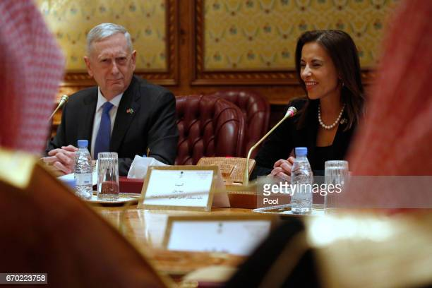 S Defense Secretary James Mattis reacts as White House Deputy National Security Advisor Dina Powell tells the Saudi delegation that Mattis's call...