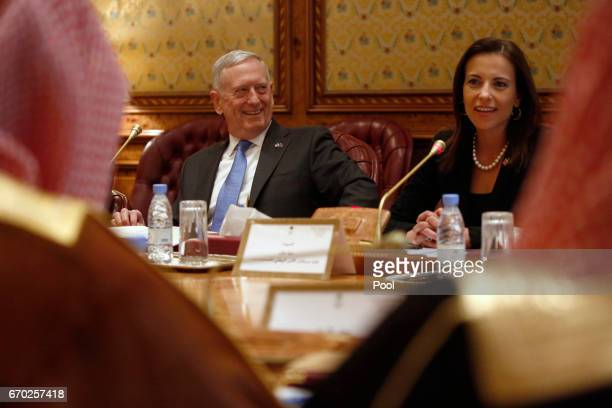 S Defense Secretary James Mattis smiles as White House Deputy National Security Advisor Dina Powell tells the Saudi delegation that Mattis's call...