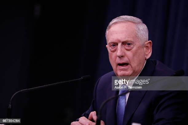 Defense Secretary James Mattis speaks at a press conference at the Pentagon April 11 2017 in Washington DC Mattis discussed the recent airstrikes...