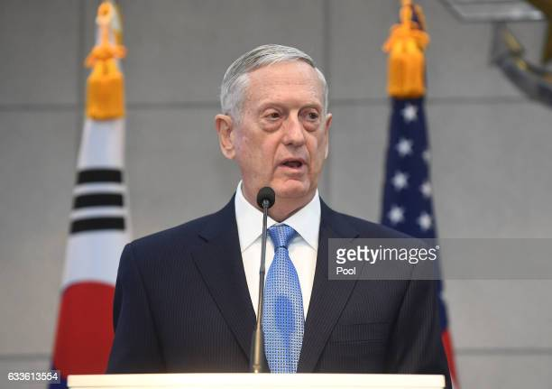 Defense Secretary James Mattis speaks before a meeting with South Korean Defense Minister Han MinKoo at the headquarters of the Defense Ministry on...