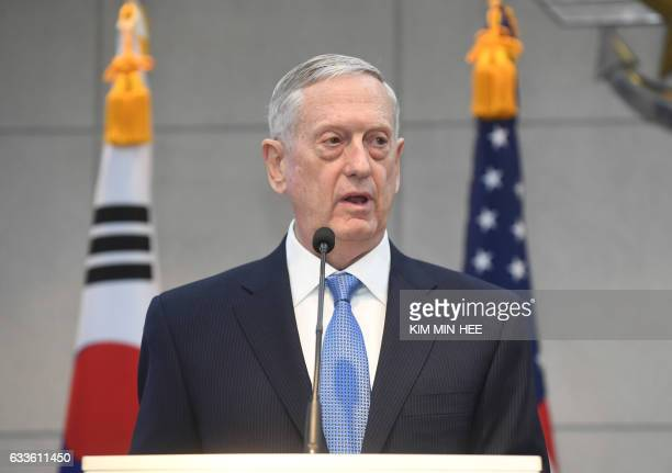 US Defense Secretary James Mattis speaks before meeting with South Korean Defense Minister Han MinKoo at the headquarters of the defense ministry in...