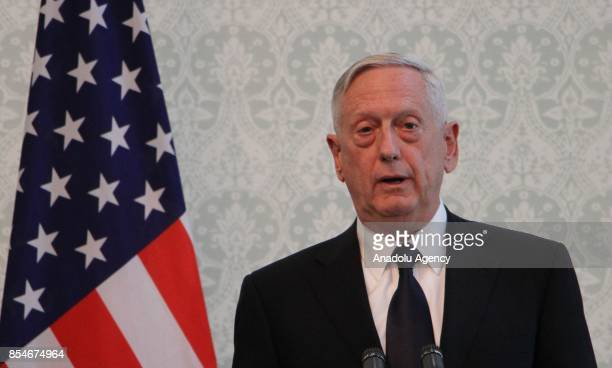 S Defense Secretary James Mattis speaks during a joint press conference with Afghan President and NATO Secretary General in Kabul Afghanistan on...