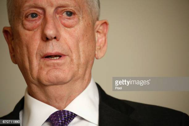 S Defense Secretary James Mattis speaks with reporters after his arrival April 20 2017 in Tel Aviv Israel