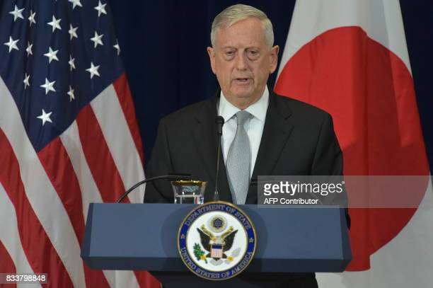 US Defense Secretary James Mattis takes part in a joint press conference with Japan's Foreign Minister Taro Kono and Defense Minister Itsunori...