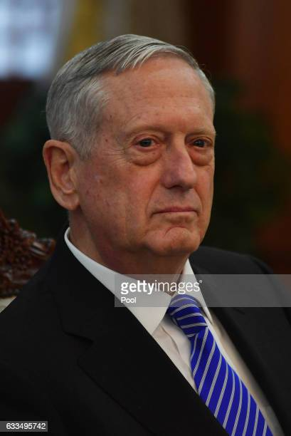 Defense Secretary James Mattis talks with South Korea's acting President Hwang Kyoahn prior their meeting at the Government Complex on February 2...