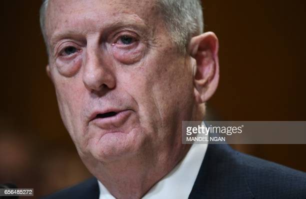 Defense Secretary James Mattis testifes before the Senate Appropriations Committee Defense Subcommittee on defense readiness and budget update in the...
