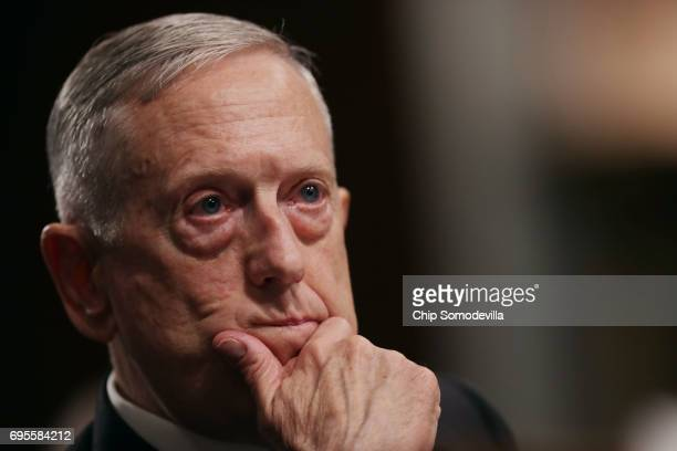 S Defense Secretary James Mattis testifies before the Senate Armed Services Committee during a hearing in the Dirksen Senate Office Building on...