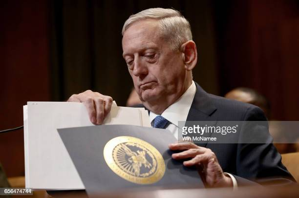 S Defense Secretary James Mattis testifies before the Senate Appropriations Committee March 22 2017 in Washington DC Mattis and Joint Chiefs of Staff...
