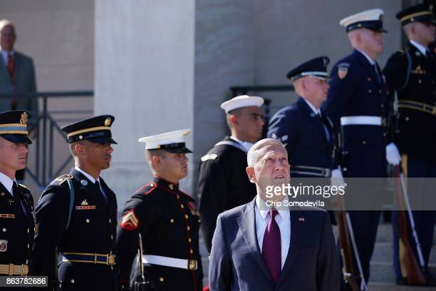 S Defense Secretary James Mattis waits on France's Minister of the Armed Forces Florence Parly ahead of an enhanced honor cordon at the Pentaon...