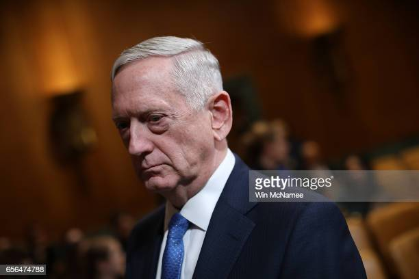 S Defense Secretary James Mattis waits to testify before the Senate Appropriations Committee March 22 2017 in Washington DC Mattis and Joint Chiefs...