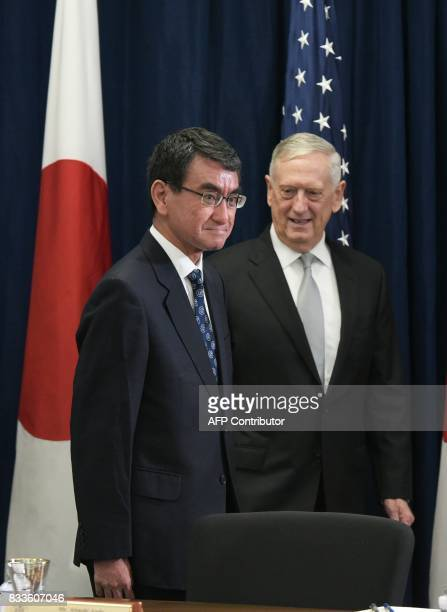 US Defense Secretary James Mattis watches as Japan's Foreign Minister Taro Kono makes his way to his seat at the start of the USJapan Security...