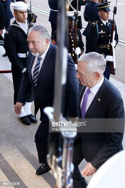 S Defense Secretary James Mattis welcomes Israeli Defense Minister Avigdor Lieberman to the Pentagon on October 19 2017 in Arlington Virginia The two...