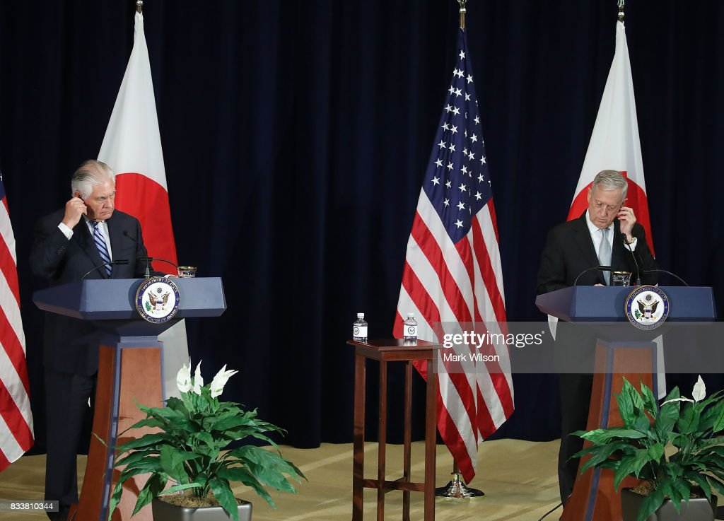 Defense Secretary Jim Mattis (R) and Secretary of State Rex Tillerson participate in a news conference after a meeting of the U.S.-Japan Security Consultative Committee at the State Department, on August 17, 2017 in Washington, DC.