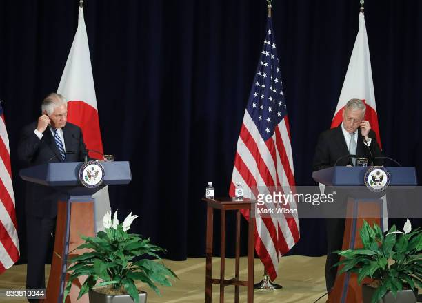 Defense Secretary Jim Mattis and Secretary of State Rex Tillerson participate in a news conference after a meeting of the USJapan Security...