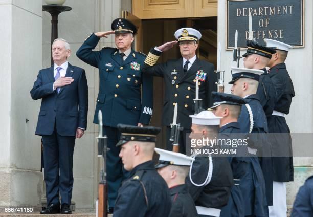 US Defense Secretary Jim Mattis Defense Secretary Gen Salvador Cienfuegos Zepeda and Mexican Navy Secretary Adm Vidal Francisco Soberon Sanz listen...