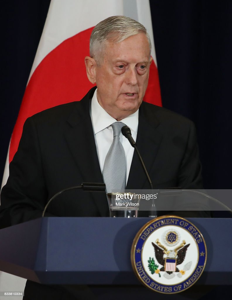 Defense Secretary Jim Mattis speaks about North Korea after a meeting of the U.S.-Japan Security Consultative Committee at the State Department, on August 17, 2017 in Washington, DC.