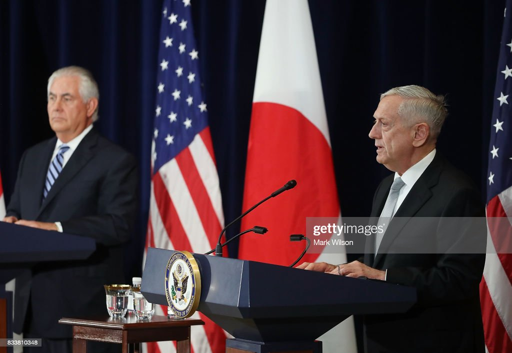 Defense Secretary Jim Mattis (R) speaks about North Korea while flanked by Secretary of State Rex Tillerson after a meeting of the U.S.-Japan Security Consultative Committee at the State Department, on August 17, 2017 in Washington, DC.