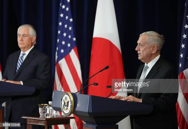 Defense Secretary Jim Mattis speaks about North Korea while flanked by Secretary of State Rex Tillerson after a meeting of the USJapan Security...