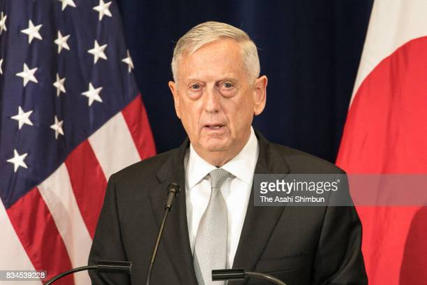 US Defense Secretary Jim Mattis speaks during a press conference following the USJapan Security Consultative Committee at the State Department on...