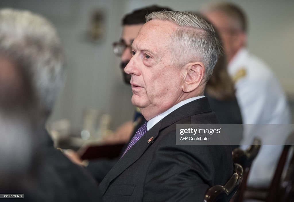 US Defense Secretary Jim Mattis speaks to the press during a meeting with Dutch Defense Minister Jeanine Hennis-Plasschaert at the Pentagon in Washington, DC, on August 15, 2017. /