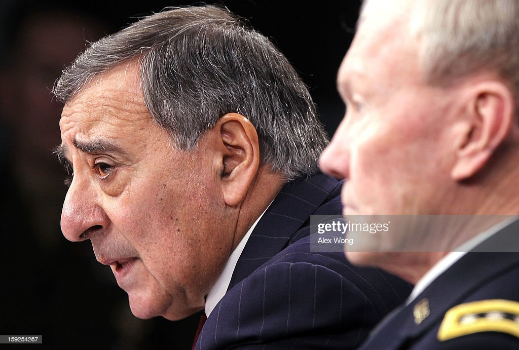 U.S. Defense Secretary Leon Panetta (L) and Chairman of the Joint Chiefs of Staff Gen. <a gi-track='captionPersonalityLinkClicked' href=/galleries/search?phrase=Martin+Dempsey&family=editorial&specificpeople=2116621 ng-click='$event.stopPropagation()'>Martin Dempsey</a> participate in a news briefing at the Pentagon January 10, 2013 in Arlington, Virginia. Panetta and Dempsey announced that the Pentagon will begin reversible sequester preparations including pulling back military maintenance not critical to immediate missions, freezing civilian hiring and other steps against a possible $45 billion spending cut that could be in effect in March.