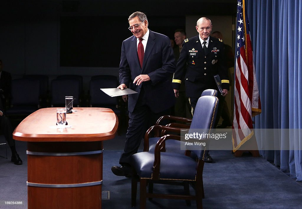 U.S. Defense Secretary Leon Panetta (L) and Chairman of the Joint Chiefs of Staff Gen. <a gi-track='captionPersonalityLinkClicked' href=/galleries/search?phrase=Martin+Dempsey&family=editorial&specificpeople=2116621 ng-click='$event.stopPropagation()'>Martin Dempsey</a> arrive at a news briefing at the Pentagon January 10, 2013 in Arlington, Virginia. Panetta and Dempsey announced that the Pentagon will begin reversible sequester preparations including pulling back military maintenance not critical to immediate missions, freezing civilian hiring and other steps against a possible $45 billion spending cut that could be in effect in March.