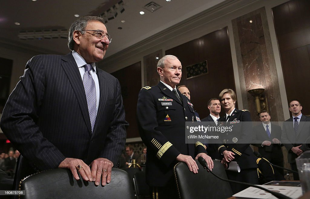 U.S. Defense Secretary Leon Panetta (L) and Gen. Martin Dempsey (2nd L), chairman of the Joint Chiefs of Staff, arrive for testimony on the attack on U.S facilities in Benghazi, Libya before the Senate Armed Services Committee February 7, 2013 in Washington, D.C. Senators questioned Panetta and Dempsey about the September 11 attacks against the U.S. mission in Benghazi, Libya, that led to the death of four Americans, including U.S. Ambassador Christopher Stevens.
