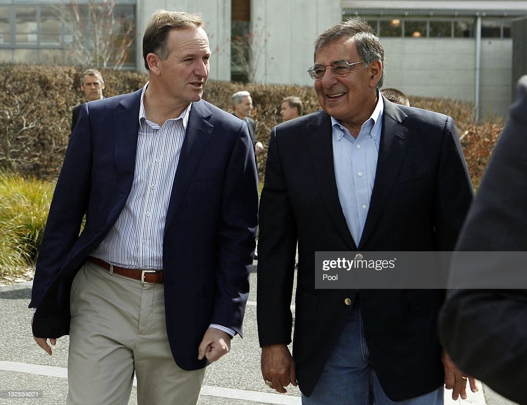 U.S. Defense Secretary Leon Panetta and New Zealand Prime Minister <a gi-track='captionPersonalityLinkClicked' href=/galleries/search?phrase=John+Key&family=editorial&specificpeople=2246670 ng-click='$event.stopPropagation()'>John Key</a> walk to a meeting at the Villa Maria Estate in September 22, 2012, in Auckland, New Zealand.
